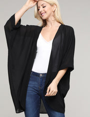 Elbow Roll-Up Kimono Sleeve. Open Closure