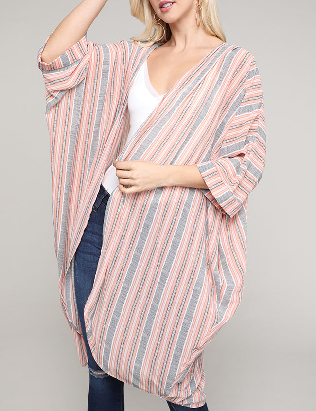 Kimono Banded 3/4 Sleeve Open Front See-Through Lightweight Loose Fitting Long Cardigan