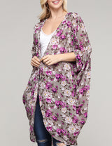 Womens kimono banded 3/4 sleeve open front see-through lightweight loose fitting long cardigan