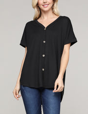 Womens short sleeve v-neck loose fitting blouse with flared high front low back hem