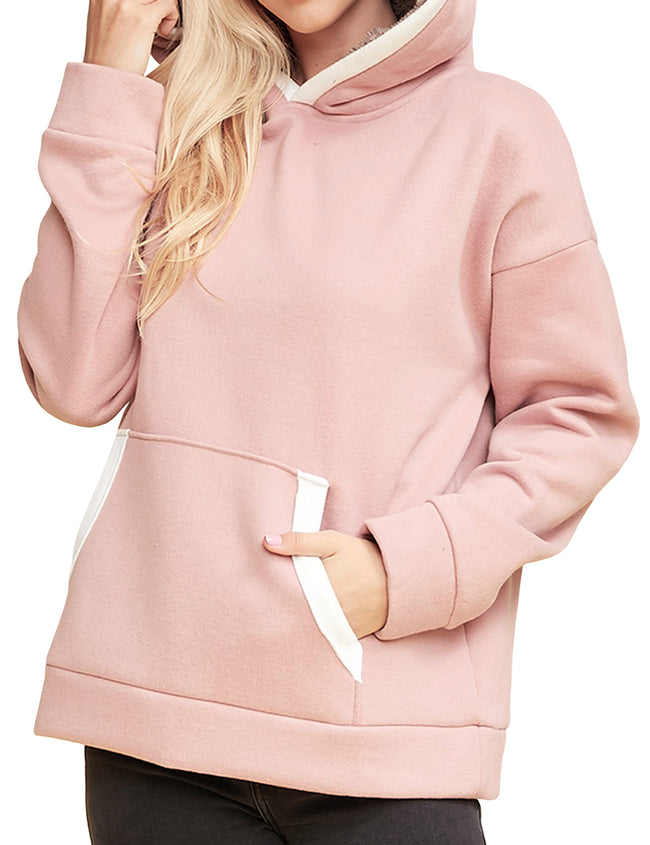 Womens long sleeve thick pullover lined hoodie with lined kangaroo pocket