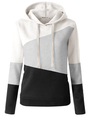 BLACKCOMBO | CWOHOL056 3 Color Block Hooded Sweatshirt