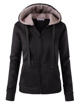 Womens long sleeve sherpa fur lined hooded zip-up jacket with side 2 hand pockets