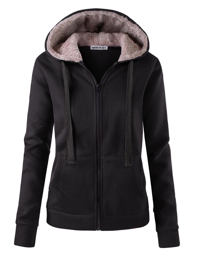 Sherpa Fur Lined Hooded Zip-Up Jacket