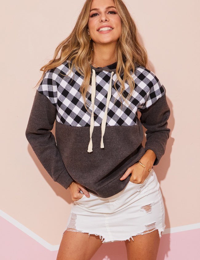 SHERPA LINED PLAID PANEL WITH FLEECE LINED SMOOTH FRENCH TERRY HOODIE SWEATSHIRTS