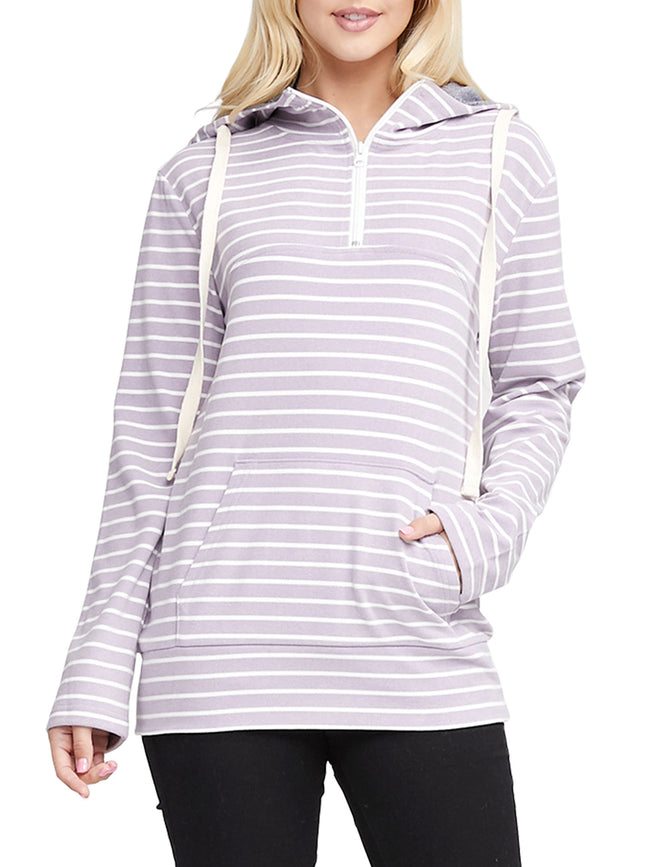 Womens long sleeve stripe 1/4 zip closure hoodie with kangaroo pocket.