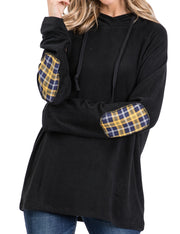 Womens long sleeve loose fitting casual hoodie with pattern elbow patch