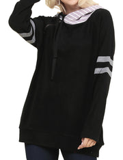 Womens long sleeve pullover hoodie with 2 side hand pockets and striped twin hood