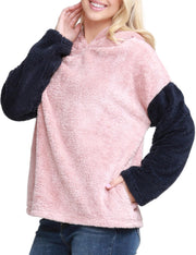 Womens contrast long sleeve loose fitting pullover hoodie with soft sherpa fur