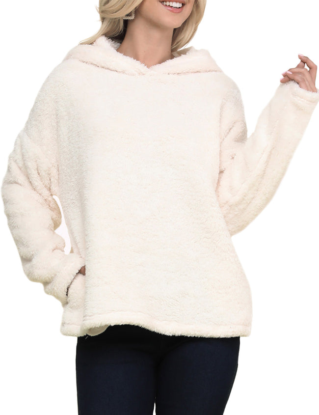 Warm And Soft Shelpa Fur Hoodie Pullover Top