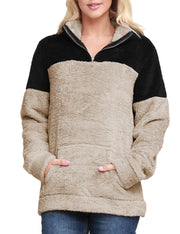 2 Color Block Soft Sherpa Fleece 1/4 Zip Closure Pullover