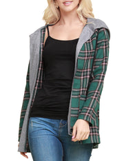 Womens long sleeve plaid jacket with contrast layered hood and 2 side pockets