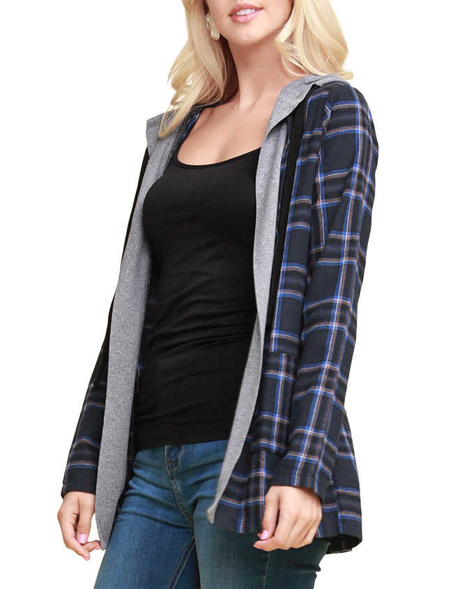 CONTRAST PANELED PLAID SHIRTS AND CARDIGAN