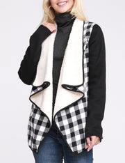 BLACKWHITEPL | CWOJA157 Open Front Loose Fitting Warm Plaid Jacket