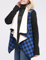 Open Front Loose Fitting Warm Plaid Jacket