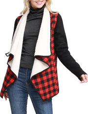 Womens long sleeve open front loose fitting warm plaid jacket with inside sherpa fur and wide lapel