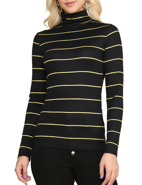 Ruffle Turtleneck Tight Fitting Stretchy Sweater