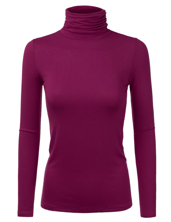 Womens long sleeve ruffle turtleneck tight fitting stretchy sweater