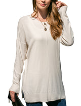 Womens long sleeve round neckline knit sweater with slit side bototm band