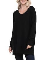 Womens long sleeve decollete neckline loose fitting knit sweater slit side bottom band