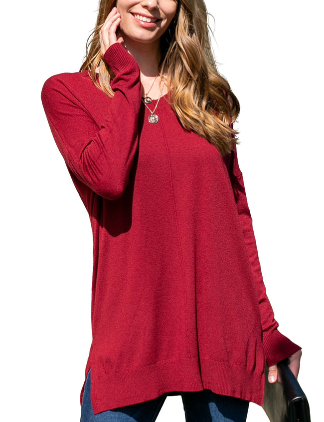 BURGUNDY | CWOSWL058 Decollete Neckline Loose Fitting Knit Sweater Slit Side Bottom Band