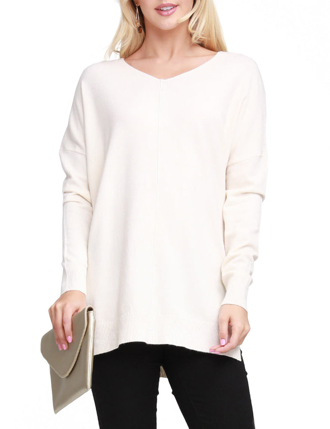 IVORY | CWOSWL058 Decollete Neckline Loose Fitting Knit Sweater Slit Side Bottom Band