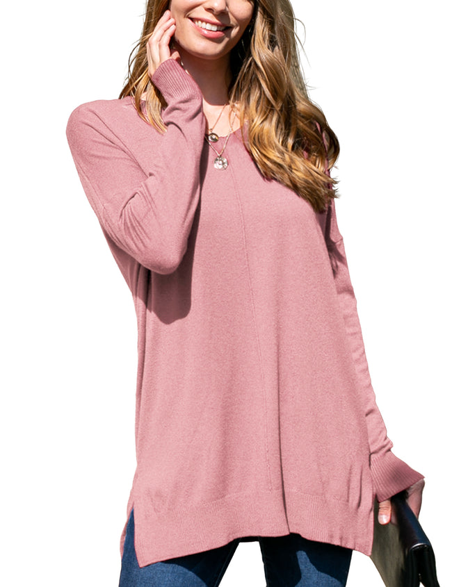 MAUVE | CWOSWL058 Decollete Neckline Loose Fitting Knit Sweater Slit Side Bottom Band