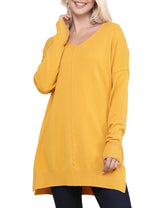 MUSTARD | CWOSWL058 Decollete Neckline Loose Fitting Knit Sweater Slit Side Bottom Band