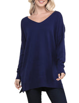 NAVY | CWOSWL058 Decollete Neckline Loose Fitting Knit Sweater Slit Side Bottom Band