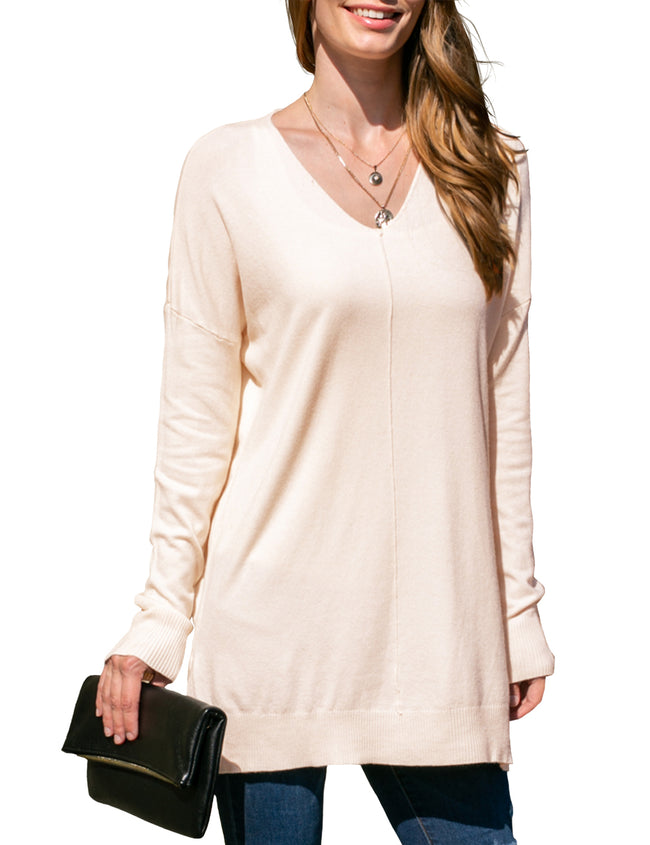 OATMEAL | CWOSWL058 Decollete Neckline Loose Fitting Knit Sweater Slit Side Bottom Band