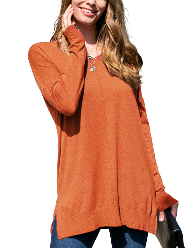 RUST | CWOSWL058 Decollete Neckline Loose Fitting Knit Sweater Slit Side Bottom Band