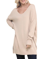 TAUPE | CWOSWL058 Decollete Neckline Loose Fitting Knit Sweater Slit Side Bottom Band