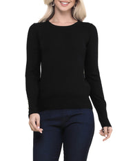 DOUBLJU Women's Long Sleeve Button Round Neck Knit Sweater with Plus Size