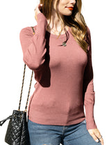 Buttoned Round Neckline Comfortable Sweater