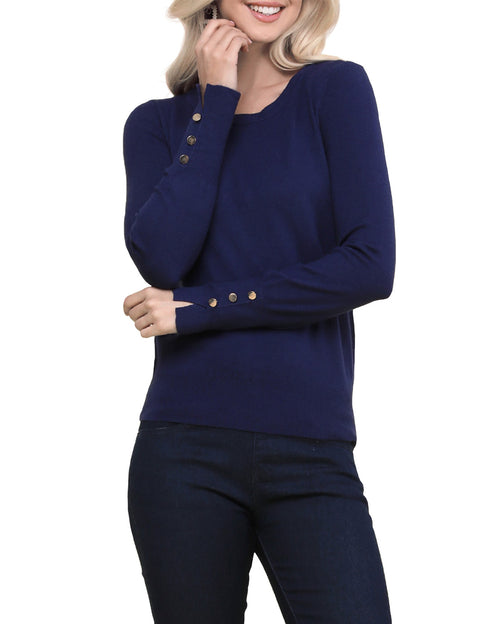 Womens buttoned long sleeve round neckline comfortable sweater