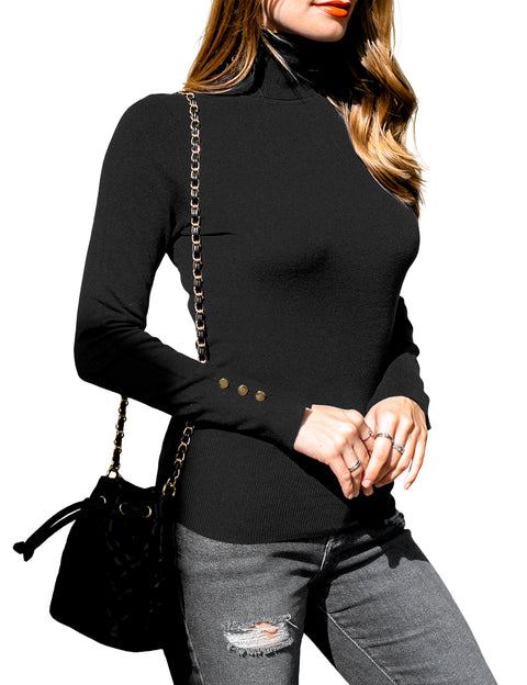 Womens buttoned long sleeve turtleneck pullover knit sweater