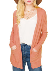 DOUBLJU Women's Long Sleeve Open Front Knit Pocket Cardigan Sweater with Plus Size