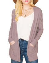 Womens long sleeve open front cardigan with 2 side hand pockets