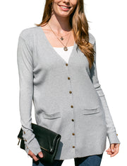 DOUBLJU Women's Long Sleeve Pocket and Button Cardigan Knit Sweater with Plus Size