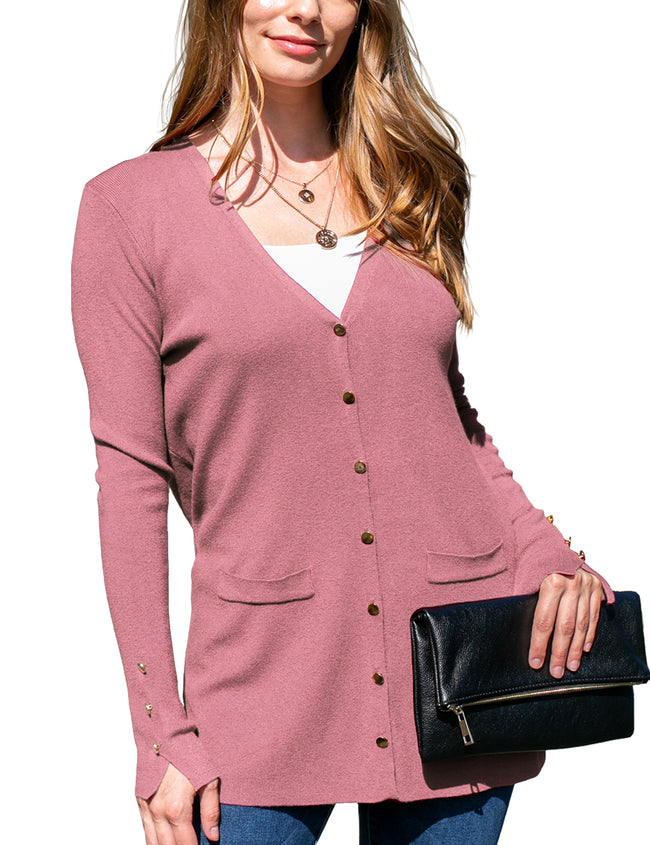 Womens long sleeve button closure cardigan with 2 front hand pockets.