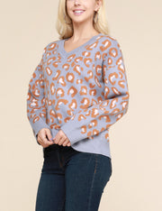 Womens long sleeve v-neck loose fitting comfortable sweater