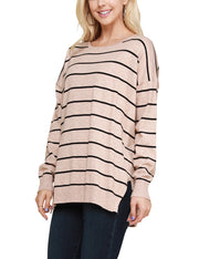 Womens long sleeve round neckline stripe casual top with slit sid hem