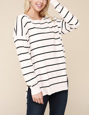 Round Neckline Stripe Casual Top