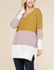 Decollete Neckline 3 Color Block Comfortable Sweater