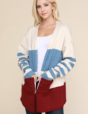 Womens stripe long sleeve open front color block loose fitting sweater cardigan