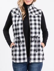 BLACKWHITEPL | CWOV057 Full Zip Up Plaid Vest