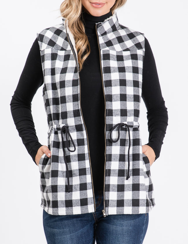 Full Zip Up Plaid Vest