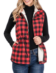 Womens sleeveless full zip up plaid vest with inside sherpa fur and adjustable waist elastic strap
