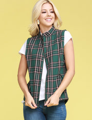 Womens sleeveless full zip up plaid warm vest with inside sherpa fur and 2 side hand pockets