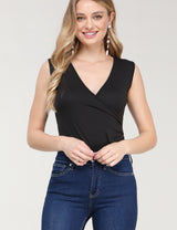 Surplice Deep V Neck Sleeveless Bodysuit